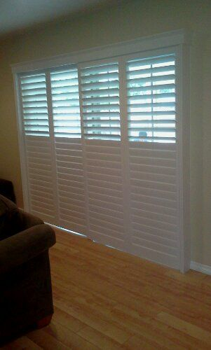 interior plantation shutters for sliding doors. The top blinds open and close separately from the bottom so you can achieve optimal lighting. I LOVE IT!