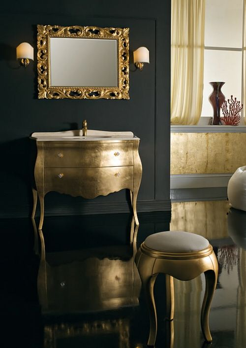 modern, rococo - bathroom inspiration a bit too gold but love the commode