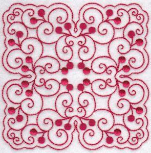 Ciliegie blocchi di quilt Redwork 10