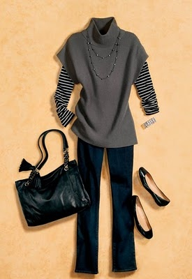 Ann Taylor- I have this sweater, but would not have thought to put the stripped under it. :)