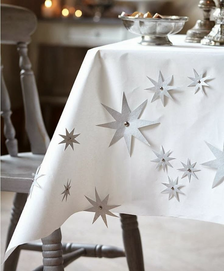 Pretty And Simple White Paper Tablecloth Silver Spikey