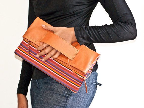 Wanda Clutch in tan colour leather and lurik by pitto on Etsy