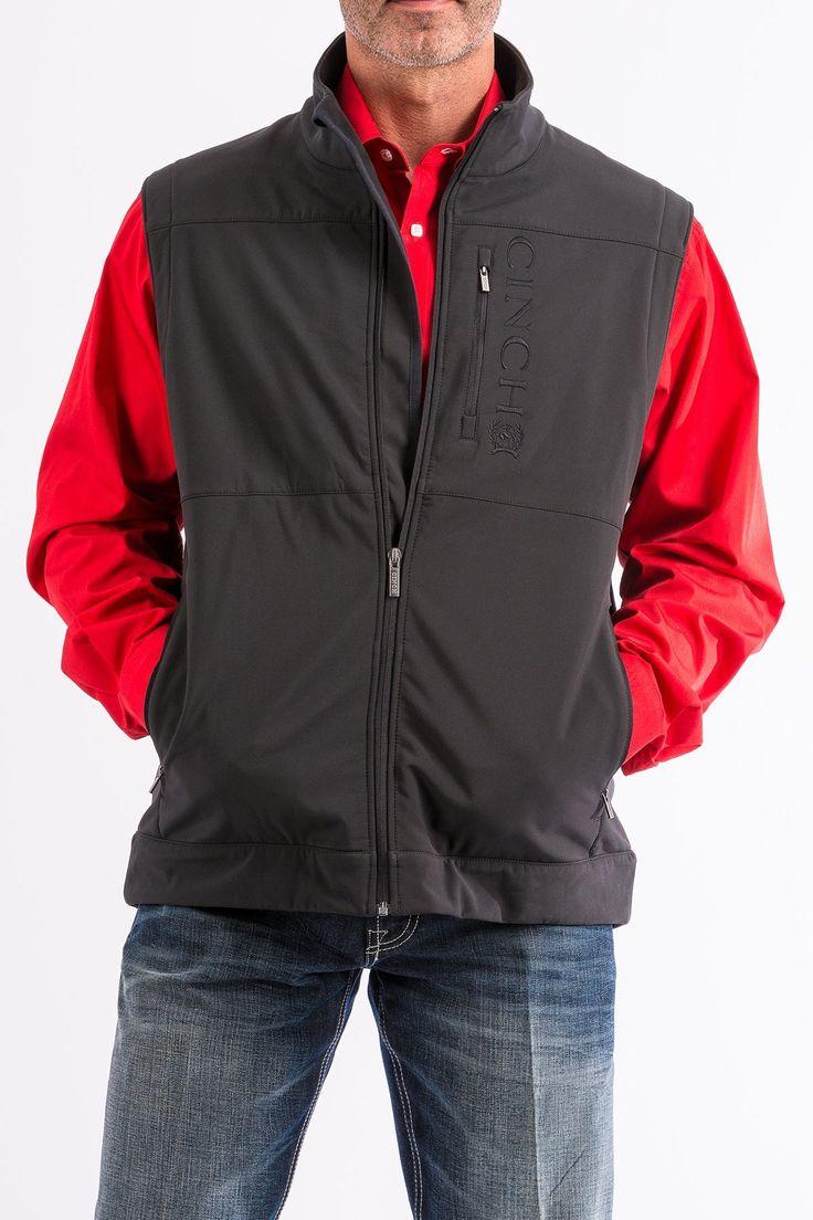 Cinch Men's Black Bonded Concealed Carry Zip Up Vest MWV1082001 MWV108201X