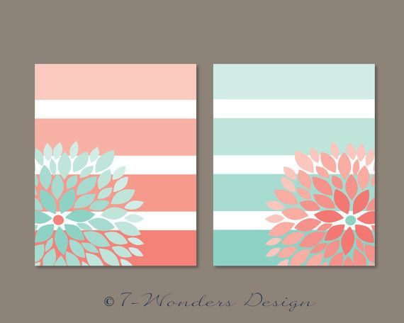 Floral Bursts Big Stripes Art Prints, Ombre Style Modern Home Decor Set of (2) 8 x 10 OR 11 x 14 sizes // Pink Coral and Mint Gift Guide