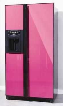 Pink fridge - what?  I just caught up to stainless steel!