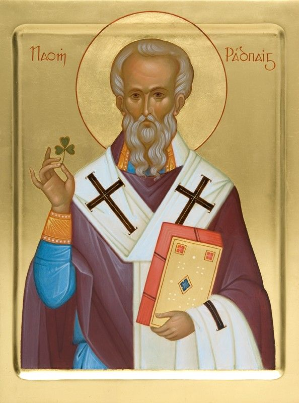 Saint Patrick Icon of the Day: A handpainted icon of Saint Patrick. Commemorated on March 17