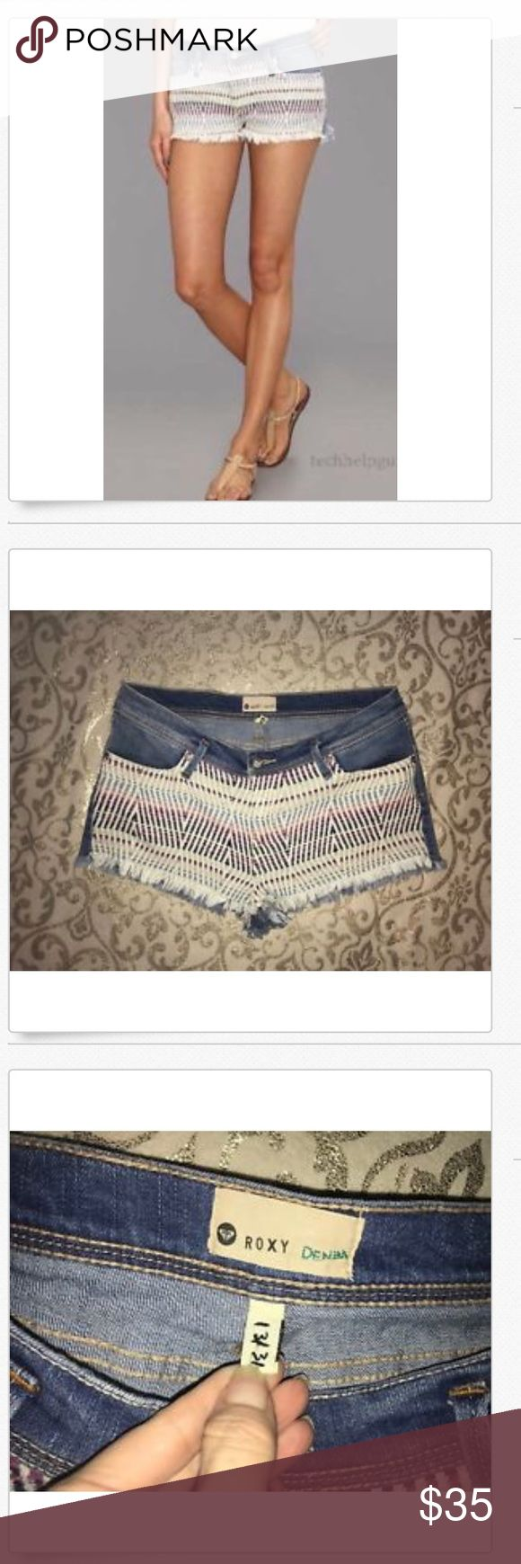 ROXY Low Rise Stretch Aztec Crocheted Jean Shorts! ROXY Low Rise Stretch Aztec Crocheted Multi-Color Jean Shorts!! 16.5 across & 8.5 rise Great Used!! Factory distressed!! 84% cotton, 15%b polyester & 1% spandex Roxy Shorts Jean Shorts