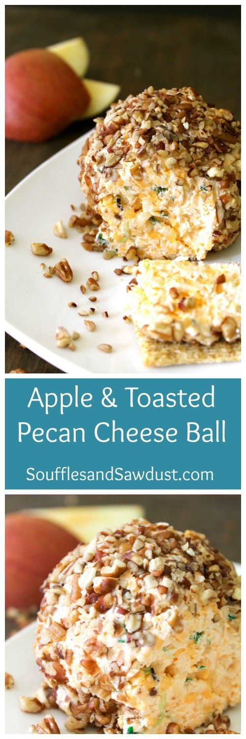 A ball of cheese and apples dredged in chopped pecans and green onions. Shmear it on a cracker and you've got a mouth full of yum. From the blog SoufflesandSawdust.com Click for the recipe or re-pin to save for later!