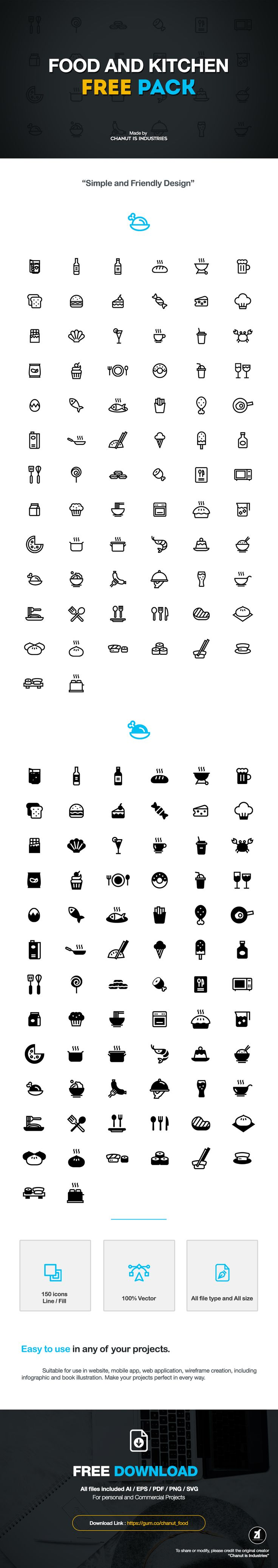 FREE! Food and Kitchen Icons by Chanut-is-Industries on Behance