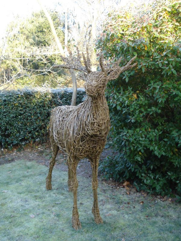 WILLOW/Steel bar. Garden Or Yard / Outside and Outdoor sculpture by sculptor Emma Walker titled: 'Willow Stag (life size)' - Artwork View 4