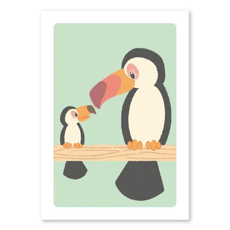 Ansichtkaart Toekan familie Voor wat tropische gezelligheid! Ook verkrijgbaar als poster in A4-formaat en past ook perfect bij de posters Jungle en Tropische vogels. Afmeting: A6-formaat Materiaal: 300-grams gerecycled mat papier Ontwerp: Studio Circus