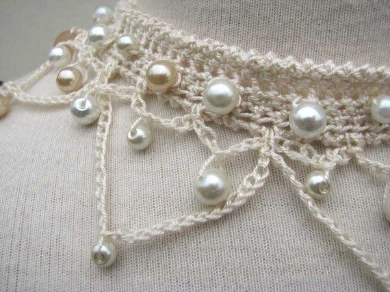 Crochet Choker Necklace ivory silk yarn and glass by SixSkeins - so delicate, so pretty :)