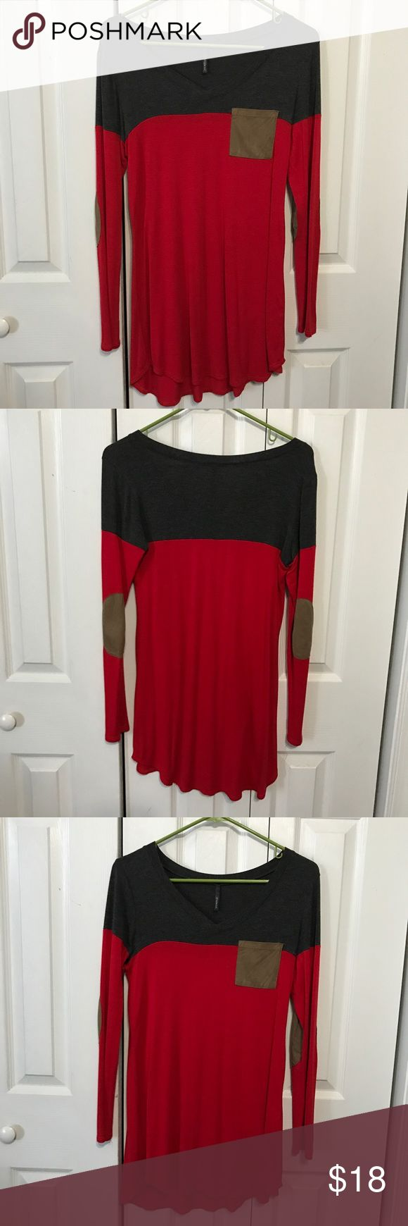 Red and Gray Tunic Red and Gray colorblock tunic with leather elbow patches Mint Julep Boutique Tops Tunics