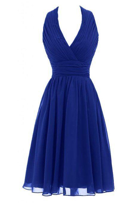 Victory Bridal Sexy Modisch Neckholder Knielang Abendkleider Kurz Chiffon Tanzkleider Sommerkleider Brautjungfernkleider-52 Royal Blau