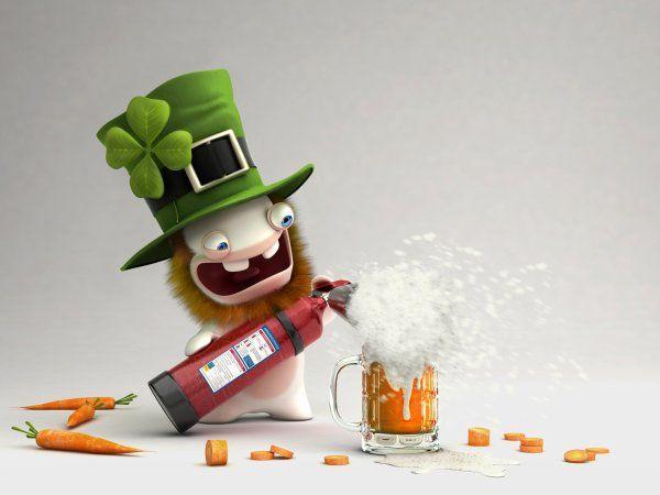 Les lapins crétins fêtent la Saint Patrick.