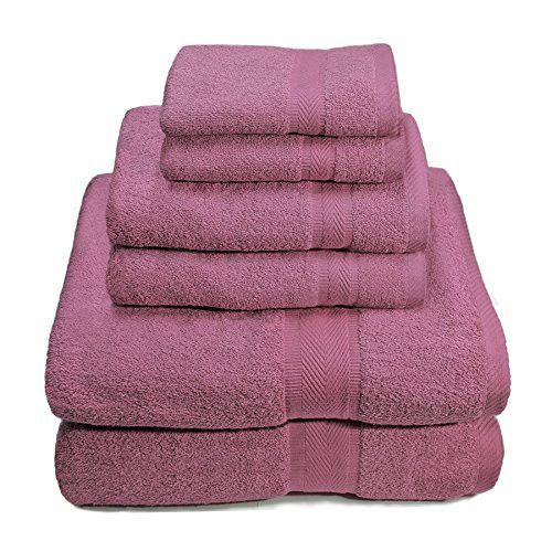 6 Piece 100% Premium Cotton Towel Set Bath Towels Hand Towels Wash Cloths (Purple)
