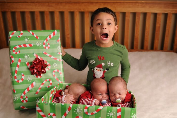 Christmas Card Picture for triplets plus one (can be adapted for various multiples and siblings)