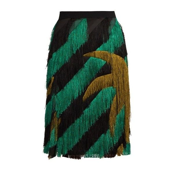 Marco De Vincenzo Palm tree-fringed pencil skirt ($1,548) ❤ liked on Polyvore featuring skirts, green multi, green pencil skirt, embellished skirt, polka dot skirt, striped skirt and chiffon knee length skirt