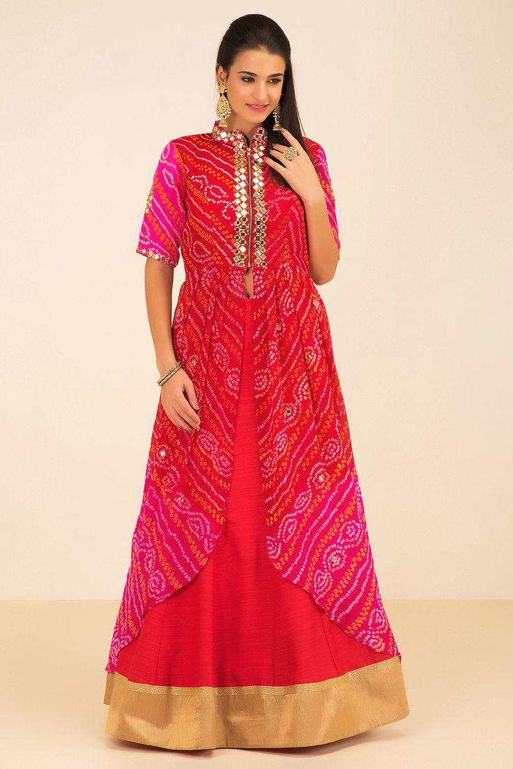Rent THE STYLE LOFT BY RITU DEORA - Red And Pink Bandhani Kurta And Lehenga Set.