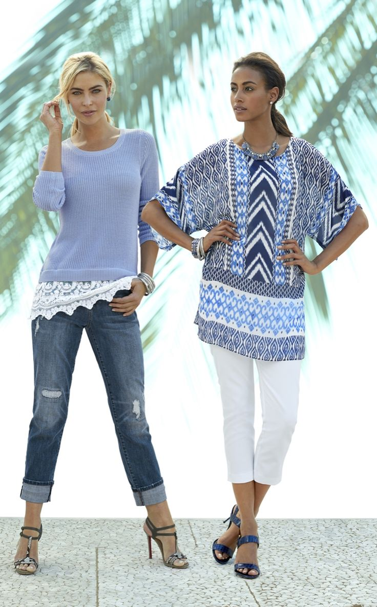 The Lace Hem Pullover and Print Tunic are two must-haves for this season.