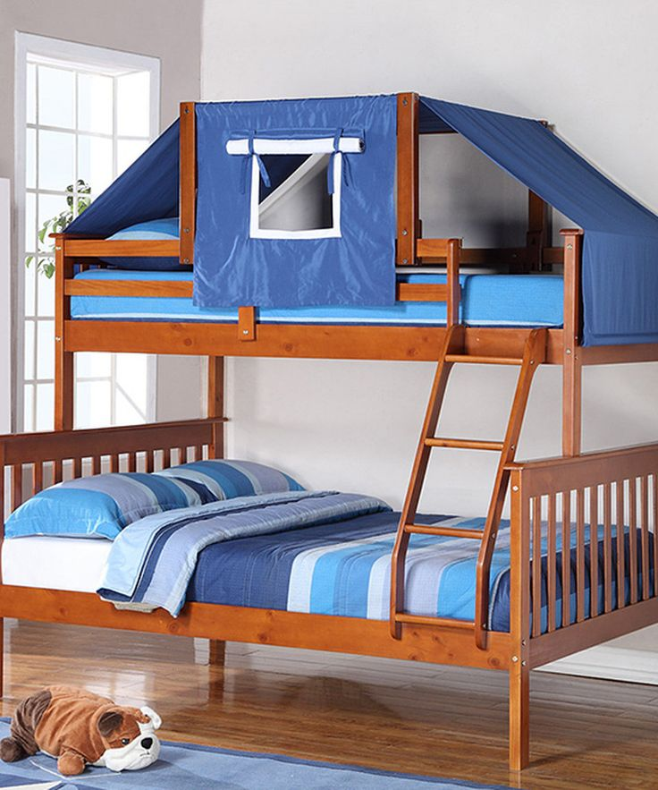 Look at this Espresso & Blue Mission Twin & Full Tent Bunk Bed on #zulily today!