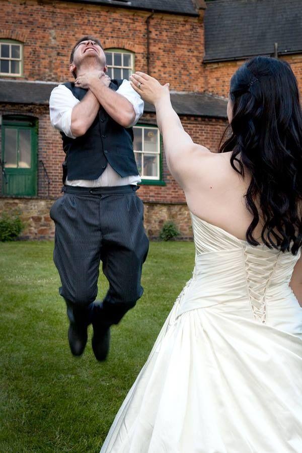 Bride force choking the groom.  Star Wars wedding pic must have!