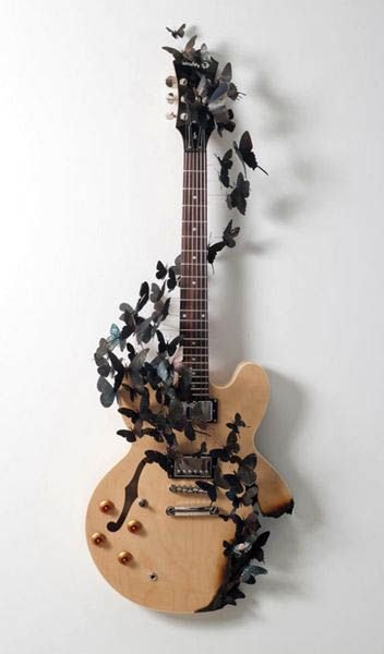Recycling Cans for Images of Birds and Butterflies Decorations, the Art of Decor guitar