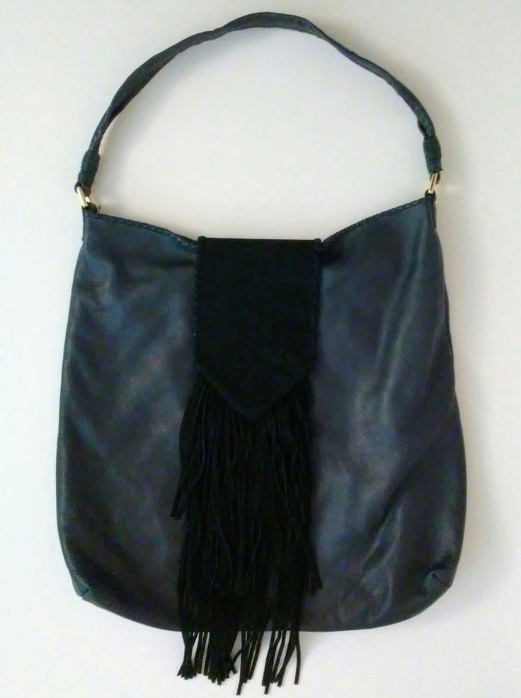 MARGOT Purse Black Suede Leather Oversize Hobo Bag Fringe Large Nordstrom EUC #Margot #Hobo