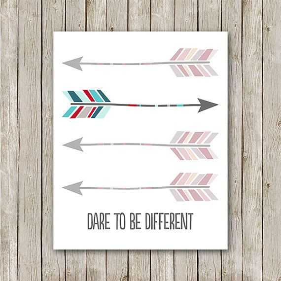 Arrow Print, 8x10, Instant Download, Dare To Be Different, Arrow Printable, Aztec