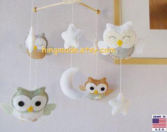 Baby Crib MobileOwl Mobile Baby Room Decor Pink Owl par hingmade