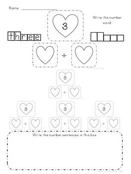 Valentines Math Pack is the MATH ONLY portion of my larger, Valentines Printables Pack.  Number bonds addition mats, recording sheets with practice writing the number words and fact family hearts.  Answer keys included. $