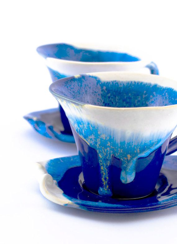 Blue tea cups ceramic stoneware pottery set cups coffee  -