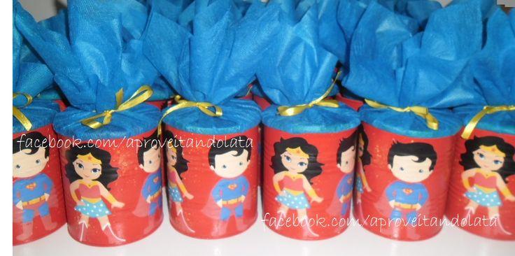 Latas super-homem - mulher maravilha   www.facebook.com/aproveitandolata  @anadaslatinhas intagram