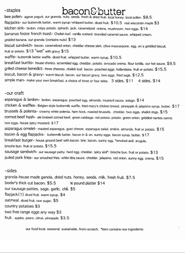 Sacramento Breakfast, Brunch and Lunch menu at bacon