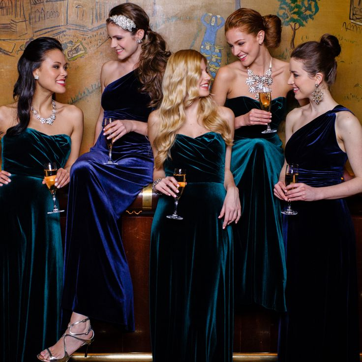 beautiful for the winter wedding mismatched long maxi velvet bridesmaid dresses