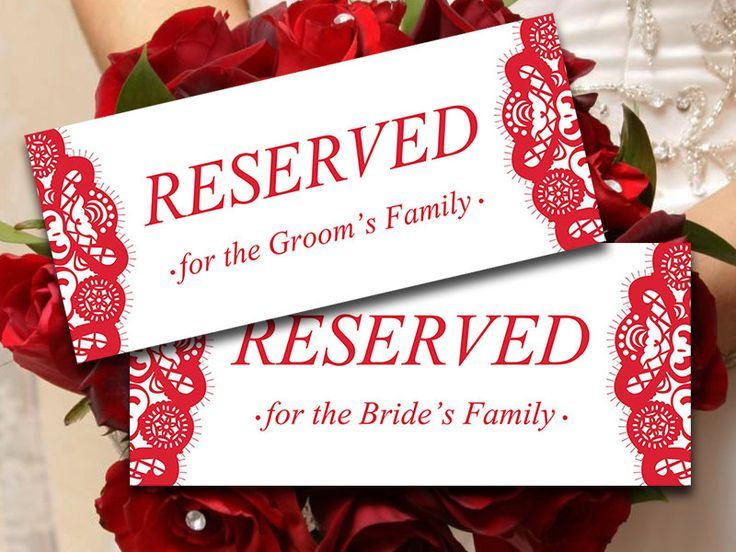 Printable Wedding Reserved Card Template