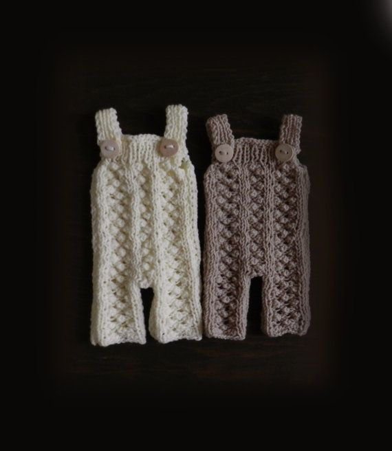 White Hand Knit Baby Romper/ White Romper/ by GabriCollection