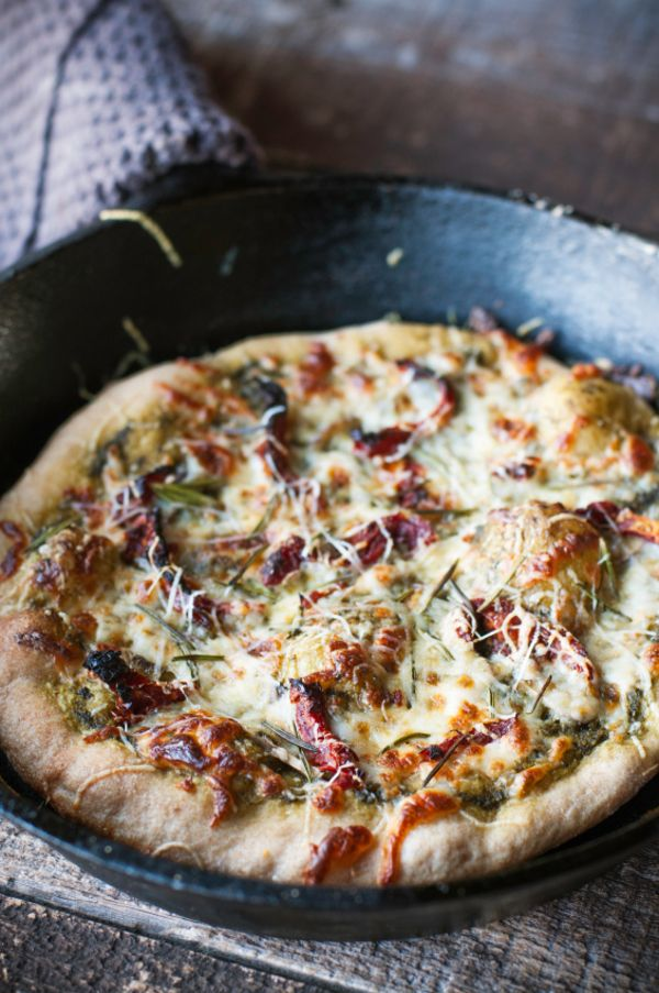 Vegetarian Pizza Recipe: Rosemary & Sun-Dried Tomato Pesto Pizza need to change crust to Holy Grail crust