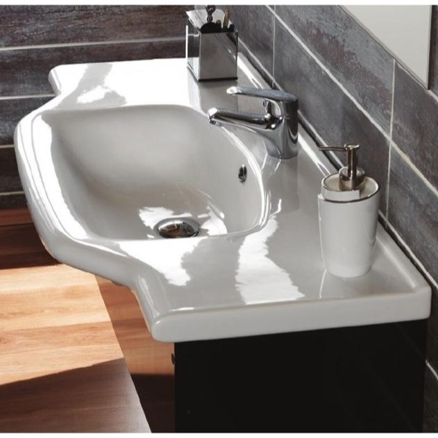 Bathroom Sink Cerastyle 081200 U Rectangular White Ceramic Wall Mounted Or Self