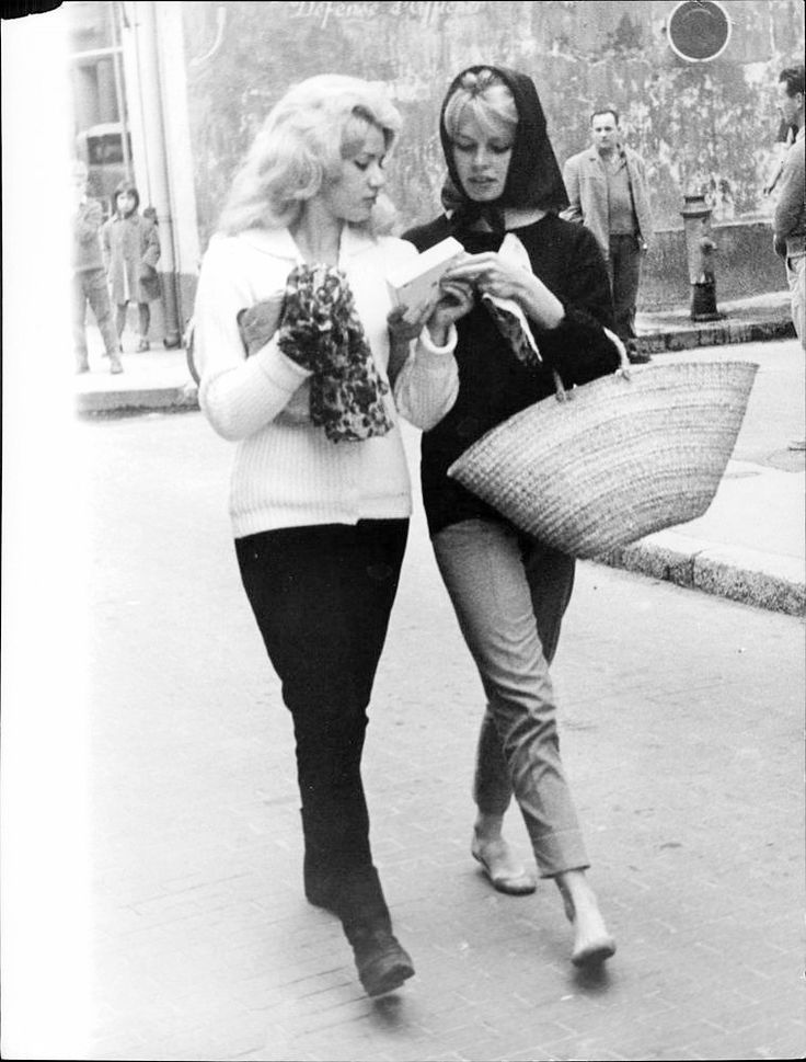Brigitte Bardot with Maguy, her friend and body double, 1950s