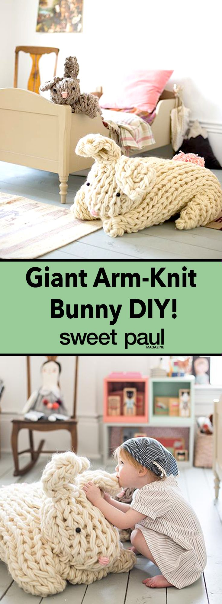 Learn how to knit giant bunnies using your arms instead of knitting needles!