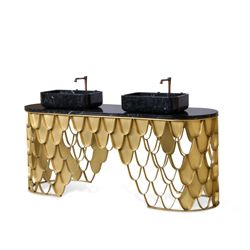 This brass bathtub is inspired in the KOI Carp, a recurring symbol of Japanese culture highly appreciated by its decorative purposes. Its natural color mutations reveal their capacity to adapt just like the KOI bathtub fits in any luxury bathroom.