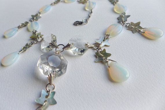 Moon and Stars Opalite Statement Necklace. Sea opal by Skullbag
