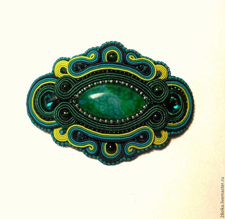 """Купить заколка для волос """"Изумруд"""" - зеленый, сутажные украшения, сутажная вышивка, заколка-автомат"""