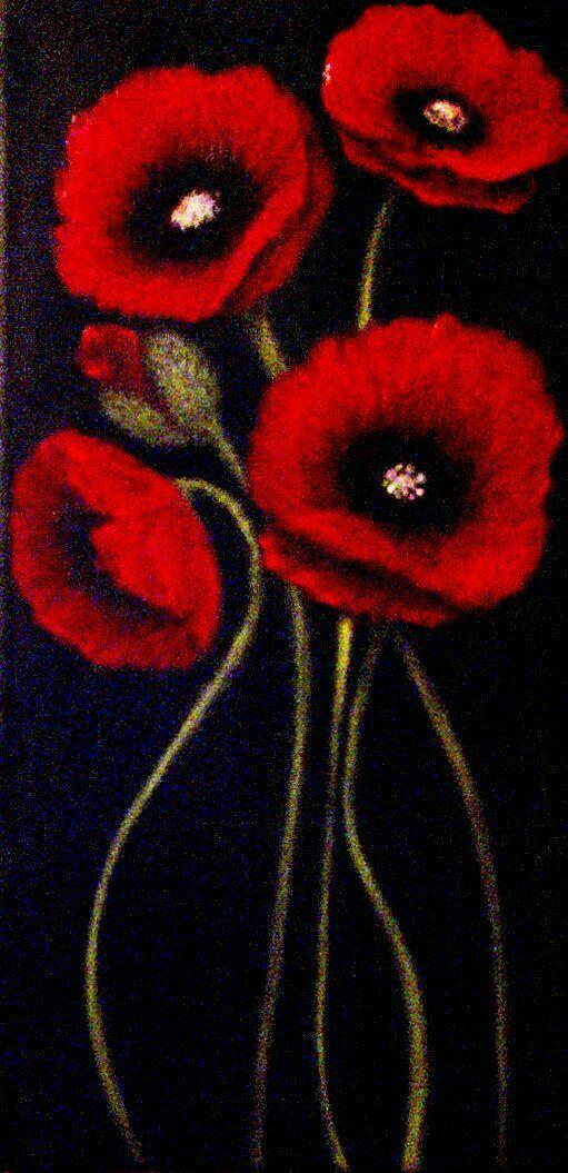 Tulipanes en fondo negro #3