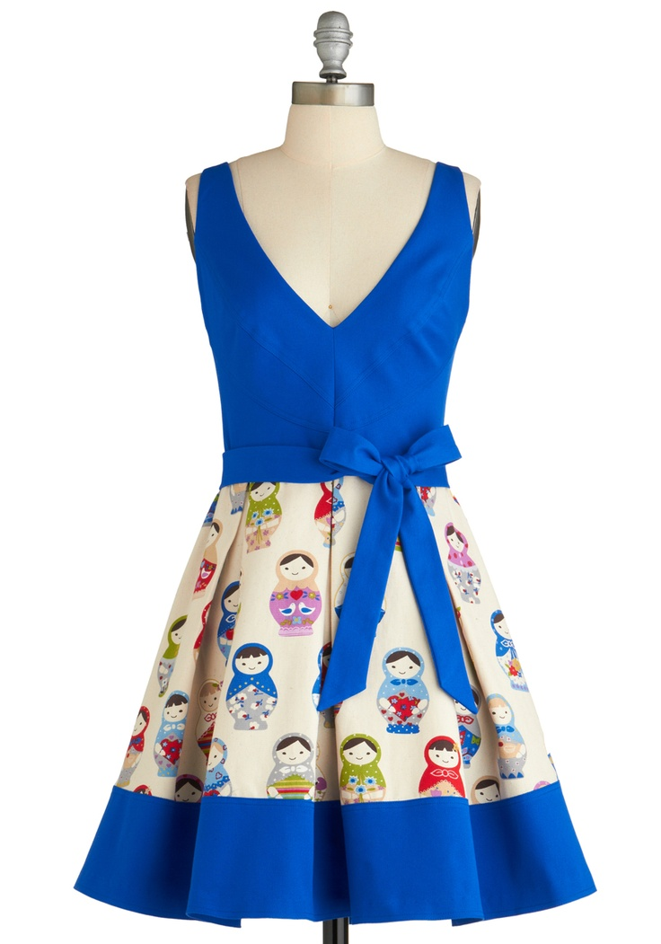 Doll in All Dress by Eva Franco from Modcloth. I like how the patterned fabric has been spliced in there, definitely inspiring for my own dress making.