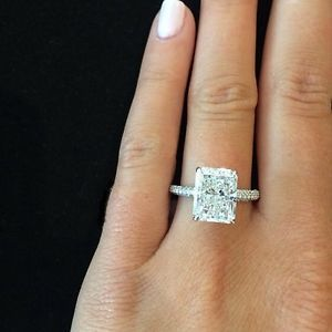 2.20 Ct. Natural Radiant Cut Micro Pave Diamond Engagement Ring - GIA Certified