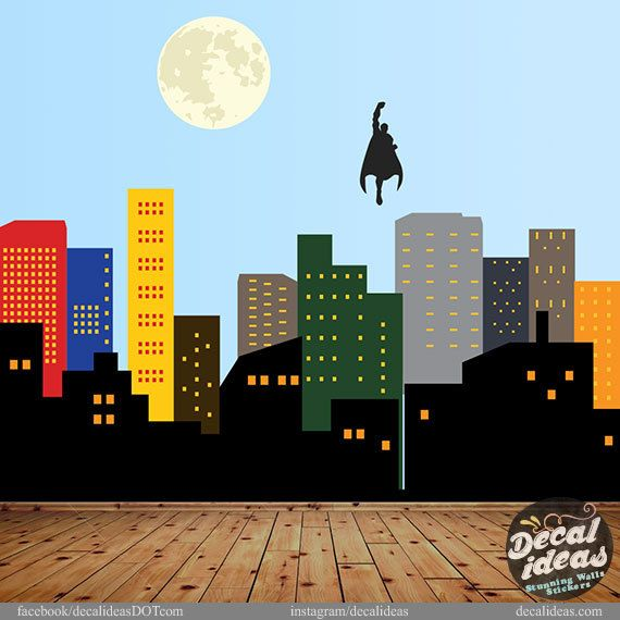 City Skyline Decal Superman City Skyline Printed By StunningWalls