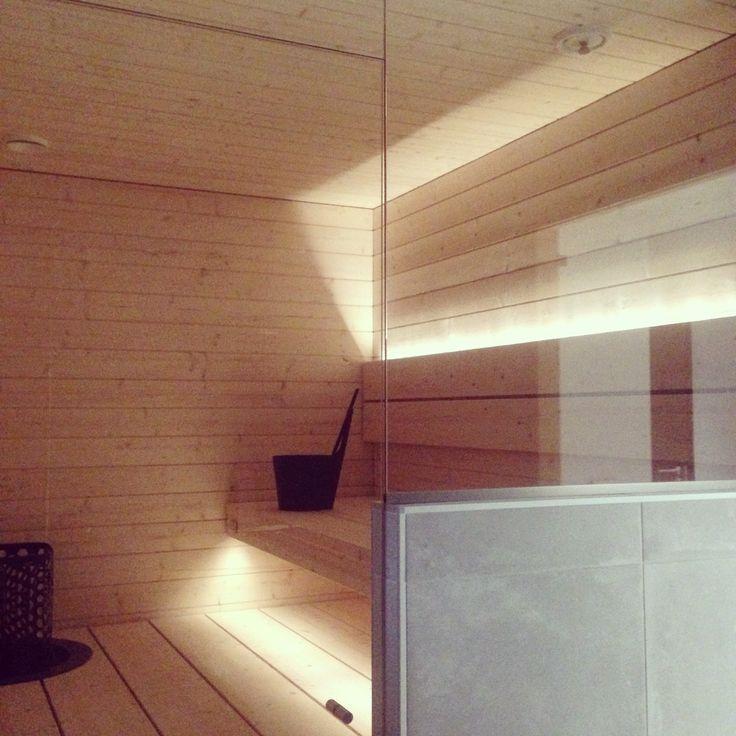 Moderni vaalea sauna. My home @raksatarinoita. #sauna #lauteet #lasitus #vaaleasauna