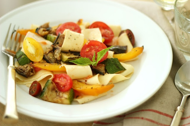 "Jenny Steffens Hobick: Grilled Summer Vegetable ""Bolognese"" with Fresh Pasta"